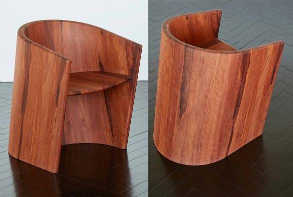 Sessel ARRUOX  DREI    Holzsessel aus 2 Schalen, wie Sessel ARROUX  maximal reduziertes Gewicht    aus Birnenholz gedämpft